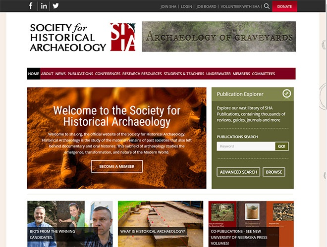 Society for Historical Archaeology website re-design